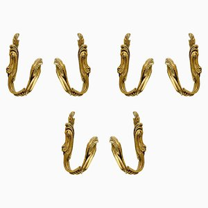 Vintage Brass Hooks, 1950s, Set of 6