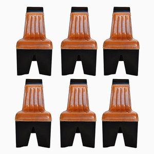 Sillas de comedor vintage con superficie de cuero de Willy Rizzo para Mario Sabot. Juego de 6
