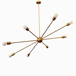 Mid-Century Orbital Lamp with 8 Brass Arms by Juanma Lizana