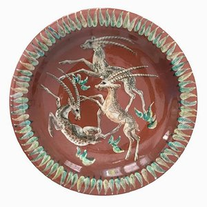 Art Deco Antilopes Majolika Wall Plate by Gustav Heinkel, 1940s