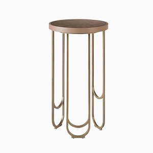 SU 30 Brass Table with a Leather Texture in Pink by 15 West Studio