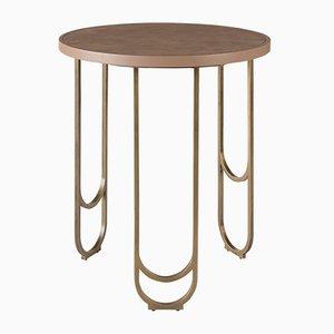 SU 50 Messing Tisch mit Lederstruktur in Rosa von 15 West Studio