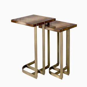 Table d'Appoint Mondrian 32x32 en Laiton Plaqué par 15 West Studio