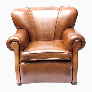 Art Deco Dutch Leather Club Chair