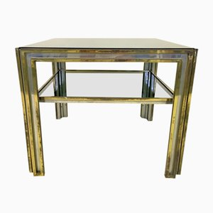 Table d'Appoint Vintage à Deux Niveaux en Laiton et Chrome