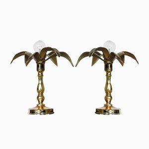 Lámparas belgas Hollywood Regency de latón de Massive, años 70. Juego de 2