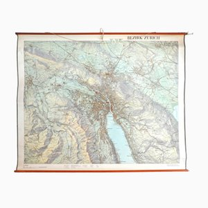 Large Wall Map of a District of Zurich from Orell Füssli, 1956