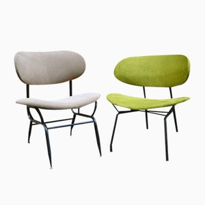 Italian Painted Metal and Fabric Chairs, 1950s, Set of 2