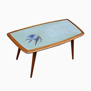 Coffee Table in Wood and Glass Mosaic Tiles, 1950s
