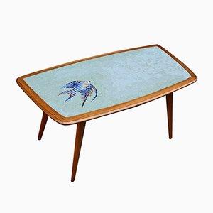 Mesa de centro de madera y azulejos de mosaico de vidrio, años 50