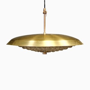 Mid-Century Crystal & Brass Pendant Light by Carl Fagerlund for Orrefors, 1960s