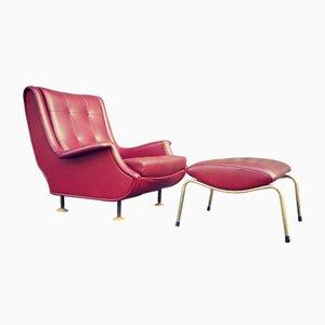 Poltrona e sgabello Regent vintage di Marco Zanuso per Arflex