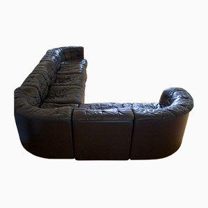 Sofá modular de cuero negro de de Sede, años 70