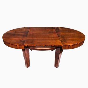 Mesa extensible Art Déco redonda de chapa de caoba, años 30