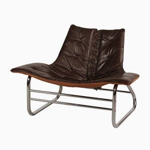 Silla danesa vintage de metal y cuero marrón, años 70