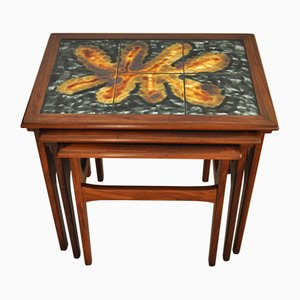 Danish Teak Nesting Tables with Ceramic Tiles, 1960s