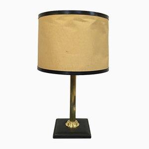 Lámpara francesa vintage de latón y cuero