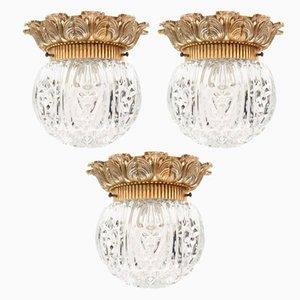 Lámparas de pared o de techo alemanas vintage de vidrio, años 60. Juego de 3