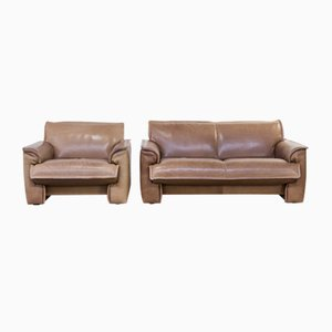 Neck Leather Living Room Set from Leolux, 1970s, Set of 2