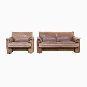 Neck Leather Living Room Set from Leolux, 1970s, Set of 2