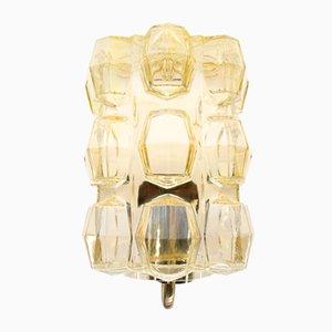 Aplique Mid-Century de vidrio amarillo, años 60