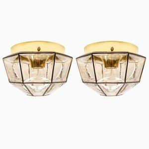 Apliques Mid-Century geométricos de vidrio de Limburg, años 60. Juego de 2