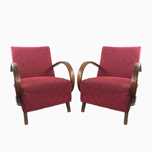 Red Armchairs by Jindrich Halabala for UP Zavody, 1950s, Set of 2