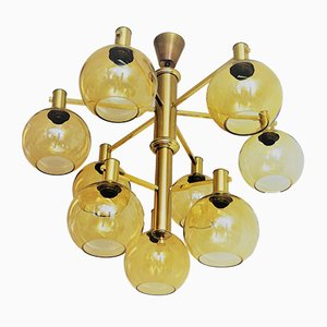 Large Vintage Swedish Brass and Glass Ceiling Lamp, 1960s