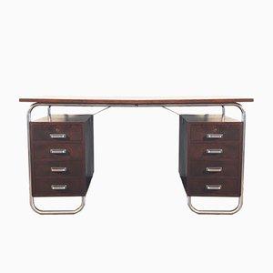 Bauhaus Schreibtisch aus Verchromtem Stahl & Getönter Buche von Petr Vichr für Kovona, 1930er