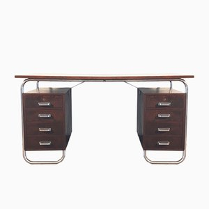 Chromed Steel & Tinted Beech Bauhaus Desk by Petr Vichr for Kovona, 1930s
