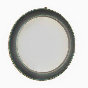 Runder Vintage Spiegel mit türkisenem Steingutrahmen & Glaslasur