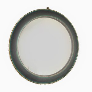 Vintage Turquoise Round Mirror in Earthenware with Glass Glaze