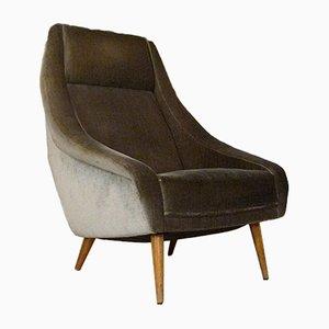 Italian Mohair Velvet Highback Chair, 1950s