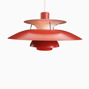 Vintage Red Danish PH5 Pendant Light by Poul Henningsen for Louis Poulsen