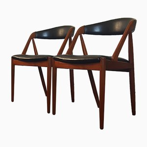 Model 31 A Frame Dining Chairs by Kai Kristiansen for Schou Andersen, 1960s, Set of 2