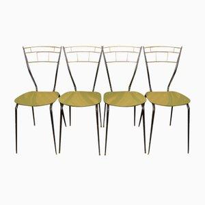 Italienische Mid-Century Esszimmerstühle mit Laminat Sitzflächen, 4er Set