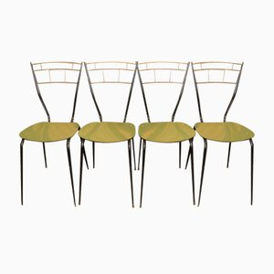 Sillas de comedor italianas Mid-Century con asientos laminados. Juego de 4