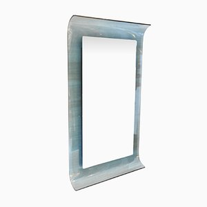 Curved Blue Crystal Glass Mirror by Santambrogio and De Berti