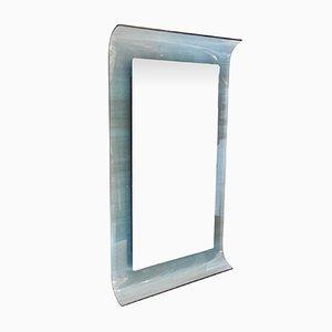 Gebogener Spiegel aus Blauem Kristallglas von Santambrogio and De Berti