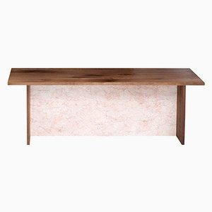 Panca ADITYAS | in legno di quercia riciclato e smaltata color rosa chiaro di Johanenlies
