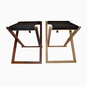 Beech & Rosewood Safari Folding Stools by Mogens Koch for Interna, 1952, Set of 2