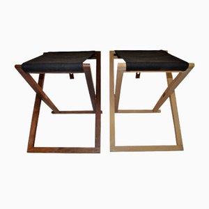 Buche & Palisander Safari Klapphocker von Mogens Koch für Interna, 1960er, 2er Set