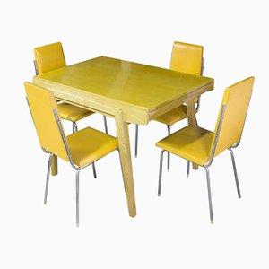 Mesa de comedor checa vintage plegable con 4 sillas cromadas, años 60