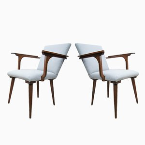 Moderne Graue Mid-Century Armlehnstühle, 1970er, 2er Set