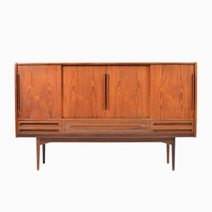 Mid-Century Danish Teak Sideboard with 4 Sliding Doors