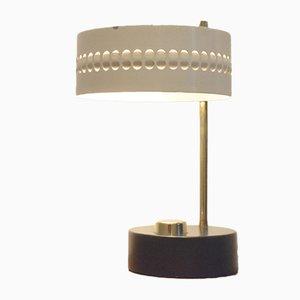 Lámpara de mesa vintage bicolor de metal perforado de Mathieu Matégot