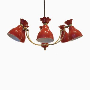 Mid-Century French Brass Pendant with Red Metal Shades