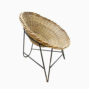 Vintage GDR Rattan Basket Chair