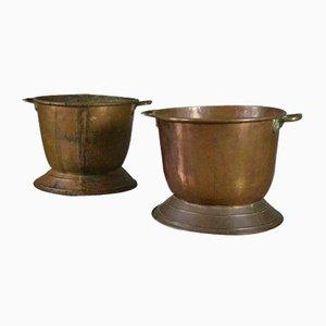 Antike Behälter für Kohle & Holzblöcke aus Kupfer, 2er Set