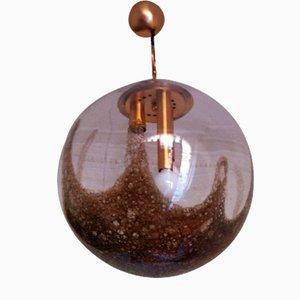 Grande Lampe à Suspension Globe Mid-Century en Verre de Murano, 1970s